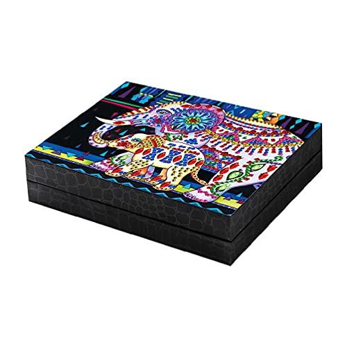 EATAN Caja de joyería de embalaje de escritorio regalo organizador de almacenamiento anillos de viaje collar portátil brazo para mujeres niñas PU leathe reloj caja