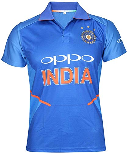 KD Cricket India Jersey Half Sleeve Cricket Supporter T-Shirt New Oppo Team Uniform Polyster Fit Material 2019-20 Kids to Adults(Dhoni 7-46)