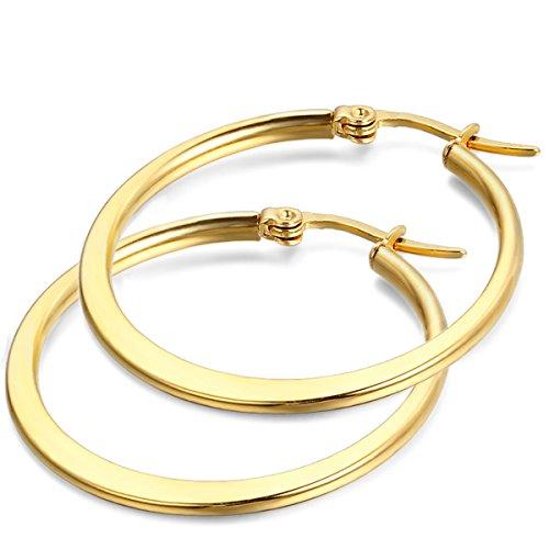 JewelryWe Pendientes joyería por Donna, 24MM Pendientes de aro Classic, Oro (con...