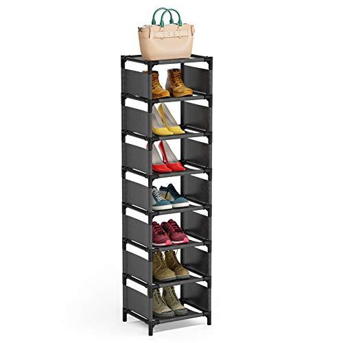 8 Tiers Vertical Shoe Rack  Narrow Shoe Shelf Space Saving Shoe Organizer for Entryway Door
