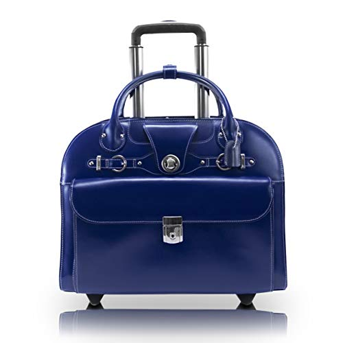 "McKlein, L Series, EDGEBROOK, Top Grain Cowhide Leather, 15"" Leather Wheeled Ladies' Laptop Briefcase, Navy (96317)"