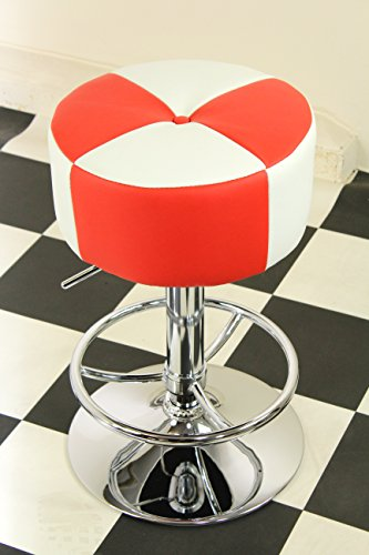 Just-Americana.com American Diner Furniture 50er Jahre Retro Barhocker, rund, Rot