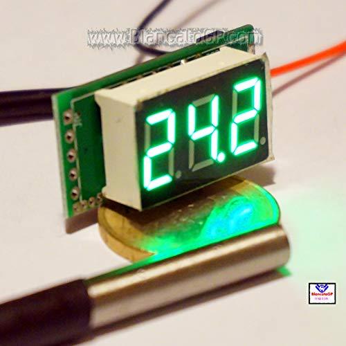 Mini-Thermometer, digital – 55 – 125 °C LED, Grün – DS18B20 wasserdicht, für Auto, Motorrad, Wohnmobil
