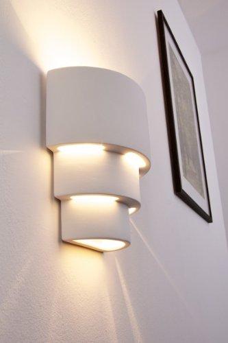 Wandlampe Karatschi aus Keramik in Weiß, Wandleuchte mit Up & Down-Effekt, 1 x E27-Fassung, max. 60 Watt, Innenwandleuchte mit handelsüblichen Farben bemalbar, geeignet für LED Leuchtmittel