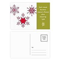 クリスマススノーフレークレッド・フェスティバル 詩のポストカードセットサンクスカード郵送側20個
