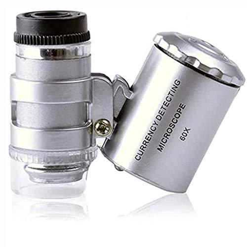 Bettgitter Mini 60x Mikroskop Vergrößerung Falttasche Lupe UV Währung Detektor Juwelier Lupe mit LED-Licht für Schmuck und Schmuck (Color : Silver)