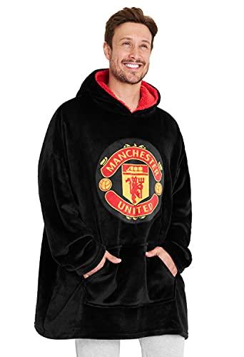 Manchester United F.C. Oversized Hoodie Blanket For Men, Man U Football Gifts (Black)