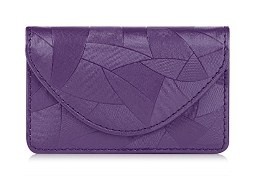 FYY Business Card Holder, Handmade Premium Leather Business Name Card Case Universal Card Holder with Magnetic Closure (Hold 30 pics of Cards) Lilac
