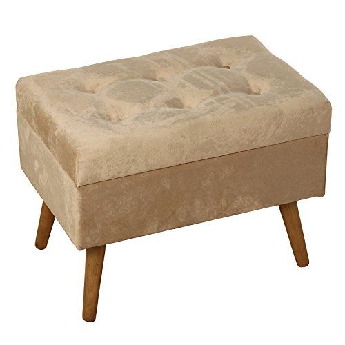 DRW Banqueta descalzadora - Arcón pie de Cama de Madera y tapizado Tela en Crema 60x40x45cm