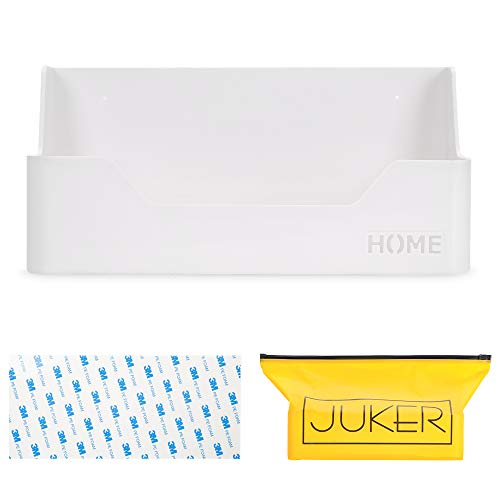 JUKER Bedside Shelf Organizer, Small White Plastic Wall Mounted Adhesive Storage Caddy Shelf Accessory for Phone, Remote, Earphone, Glasses | Great for Home, Office, Dorm
