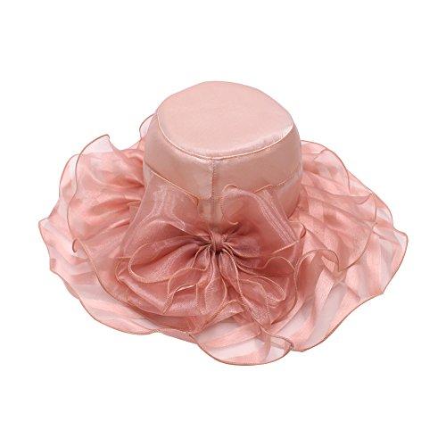 WeiMay Sombreros Gran Sombrero de Gasa de ala Ancha Plegable Visera de Encaje Floral para Mujeres