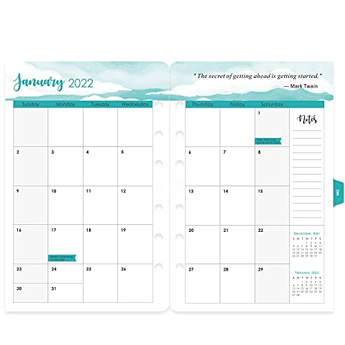 2021-2022 Planner Refills - Weekly & Monthly Planner Refill, 5-1/2' x 8-1/2', Jul 2021-Jun 2022, 6-Hole Punched, Refill Paper