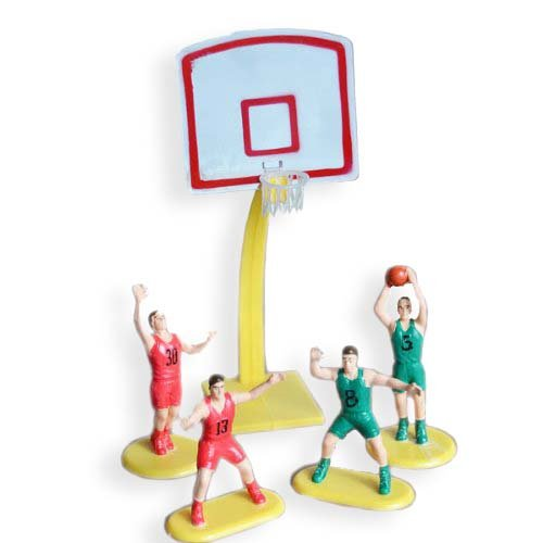 Basketball Team Cake Topper 4 Players and Hoop