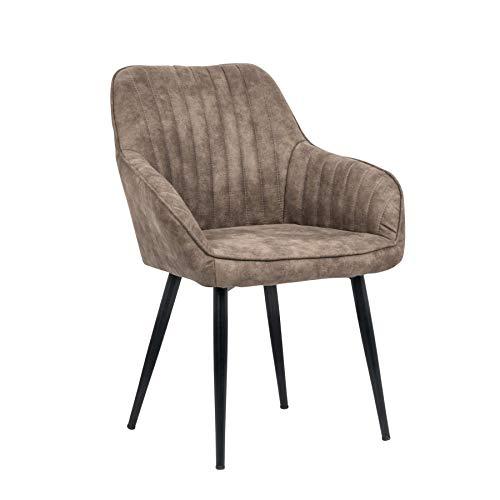 Riess Ambiente Edler Design Stuhl Turin Vintage Taupe grau mit Armlehne Esszimmerstuhl Konferenzstuhl