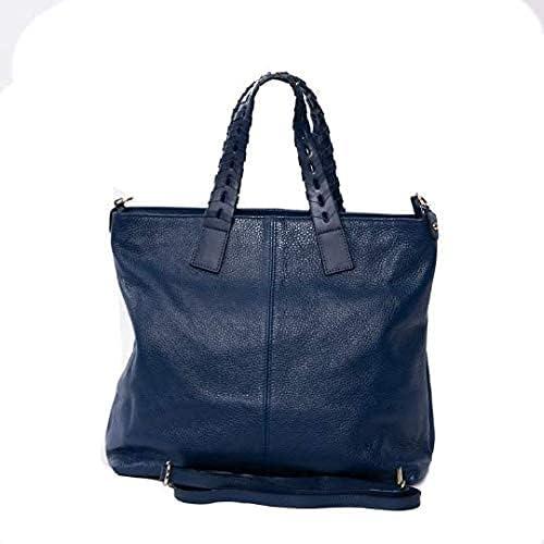 Italian Blue Soft Pebbled Leather Tote & Shoulder Bag