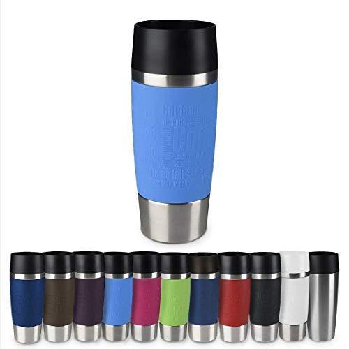 Emsa 513552 Travel Mug Thermo-/Isolierbecher, Fassungsvermögen: 360 ml, hält 4h heiß/ 8h kalt, 100% dicht, auslaufsicher, Easy Quick-Press-Verschluss, 360°-Trinköffnung, hellblau
