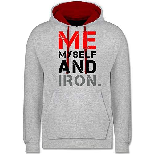 Fitness & Workout - Me, Myself and Iron. - XXL - Grau meliert/Rot - Bodybuilder - JH003 - Hoodie zweifarbig und Kapuzenpullover für Herren und Damen