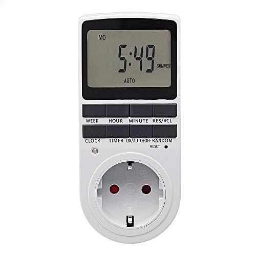 Enchufe de temporizador digital LCD de 16 A 230 V con función de reloj Interruptor de salida de temporización Interruptor de temporizador inteligente de 24 h