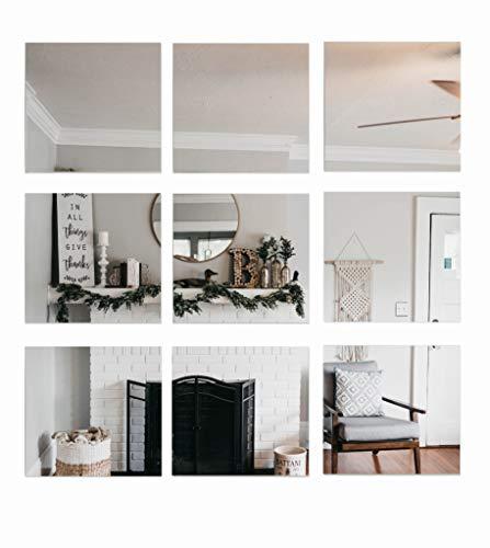 w-mtools Spiegelfliesen selbstklebend 20x20cm 4 Stück Dekorative Wandspiegel Spiegelkacheln Fliesenspiegel Spiegel zum Kleben - Deko Spiegel für Küche, Bad, Wohnzimmer, Schränke Spiegel Wandspiegel