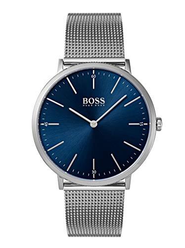 Hugo Boss HORIZ 1513541 Reloj de pulsera para hombre, acero inoxidable, 3 bar, analógico, color plateado