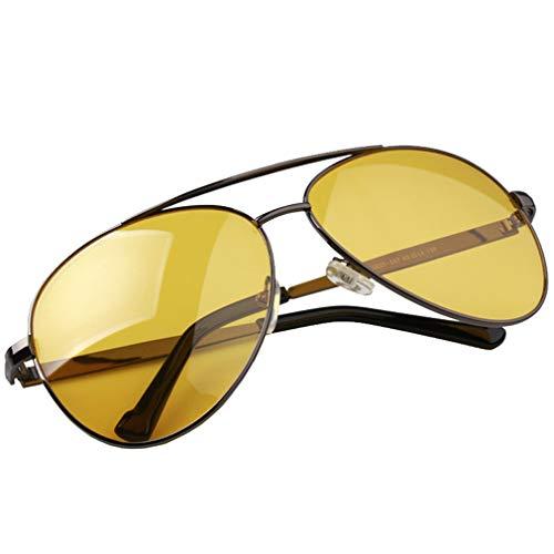 AidShunn Driving Night Vision HD Gafas de Sol Lente Amarilla Marco de Metal Antirreflejos Aliviar la Fatiga Ocular