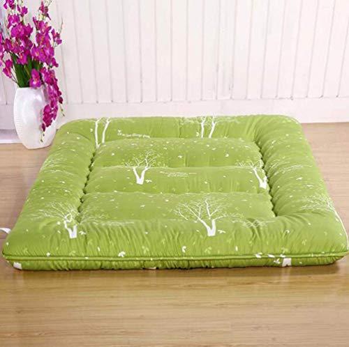 Anzkzo Double Single Futon Mattress Floor mat Thicken Japanese Guest Mattress Student Dormitory Sleeping Hotel-150 * 200cm A: green