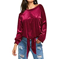 KANCY KOLE Womens Casual Long Sleeve Round Neck Velvet Shirts (Wine Red)