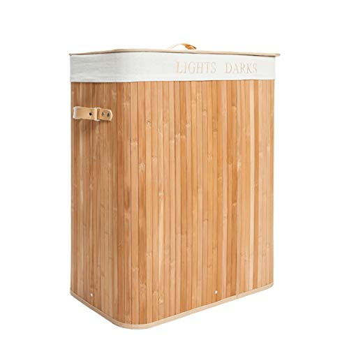 Double-Lattice Bamboo Folding Basket Body with Cover Wood Color Slim Laundry Baskets Dirty Laundry Hamper Basket Home Corner Bin