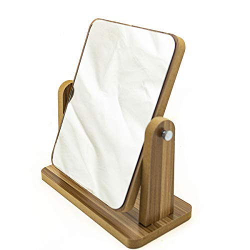"""Stylish Bamboo Magnification Double Sided Makeup Mirror & Natural Bamboo Stand - 1x/3x 360 Degree Swivel Magnifying Portable Table Desk Mirror Bathroom Idea No-Setup (7""""x5"""") Boxed - Best Gift Idea"""