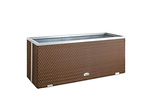 Macetero grande para interior y exterior – Maceta alargada, rectangular, 98 x 25 x 34 cm, marrón nogal