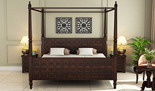 SS WOOD FURNITURE Sheesham Solid Wood Walnut Finish Citadel Poster King Size Without Storage Wooden Bed for Beautiful Bedroom Room (King, Walnut)