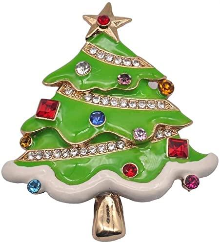 Árbol De Navidad Diamante Tridimensional Broche De Dibujos Animados Exquisito Aleación Planta Broche Collar Pin Simple Joyería Bricolaje (Color : Green)
