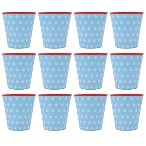 12 Piezas Taza de Agua Azul Claro Patrón de Puntos Taza de Agua de Melamina Leche Té Café Bebida Cristalería Vajilla Reutilizable para Oficina de Escuela