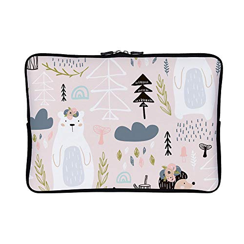 DKISEE Abstract Bear Wrapping Neoprene Laptop Sleeve Case Waterproof Sleeve Case Cover Bag for MacBook/Notebook/Ultrabook/Chromebooks