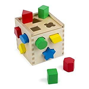 Melissa & Doug Shape Sorting Cube Classic Wooden Toy, Developmental Toy, Easy-to-Grip Shapes, Sturdy Wooden Construction, 12 Pieces, 5.5″ H × 5.5″ W × 5.5″ L
