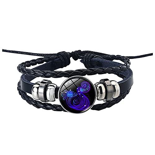 GANBADIE - Pulsera de piel para hombre y mujer, con cuerda de cuero, 12 constelación, pulsera de cuerda trenzada ajustable vintage b Talla única