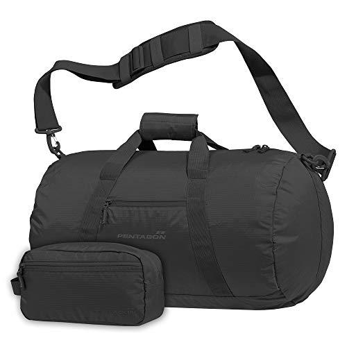 Pentagon Soft Duffle Kanon Duffle Bag mit Schulterriemen aus wasserfestem Ripstop (schwarz)