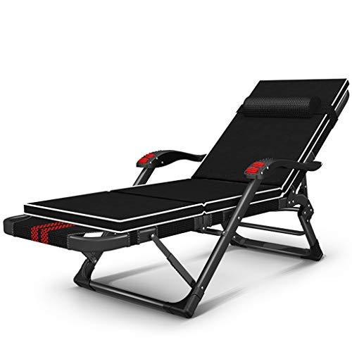 Chaise inclinable Chaise pliante Multi-fonctionnelle Chaise adulte Plage Maison Chaise pliante Bold 40 * 20 Tube plat (Couleur : Plus pad)