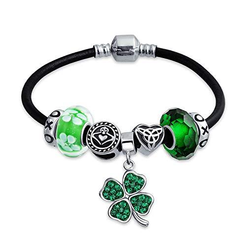 Bling Jewelry Keltisch Glücklich Klee Grün Kleeblatt Irisch Knoten Claddagh Bead Charm Armband Leder Schwarz Sterling Silber Für Damen