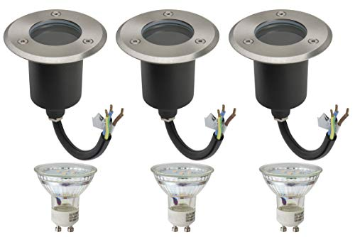 3er Set Bodenleuchte IP67 Alfa-O 1Watt LED Leuchtmittel GU10 230Volt Warmweiss 2700Kelvin Edelstahl Befahrbar Rostfrei