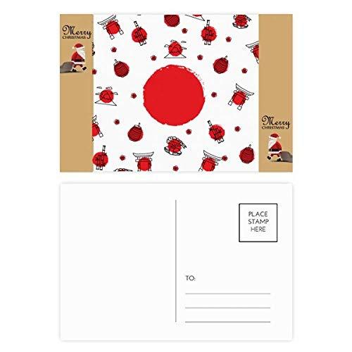 Farol de la bandera nacional de Japón con diseño de Papá Noel,...