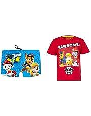 Patrulla Canina 3410. Pack bañador y Camiseta niño, Camiseta para niños y bañador Tipo Bóxer Paw Patrol, Playa o Piscina. (Pack