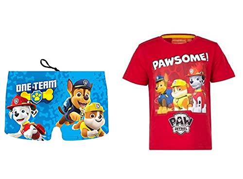 Patrulla Canina 3410. Pack bañador y Camiseta niño, Camiseta para niños y bañador Tipo Bóxer Paw Patrol, Playa o Piscina. (Pack, 4_Years)