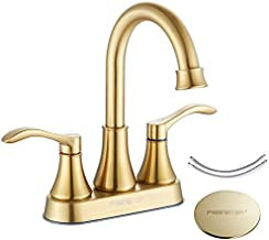 Fransiton 2 Handle 3 Holes Bathroom Sink Faucet with Pop Up Drain and 60cm Faucet Supply Lines,360 Degree High Arc Swivel Spout Lavatory Faucet Brushed Gold Bathroom Sink Faucet