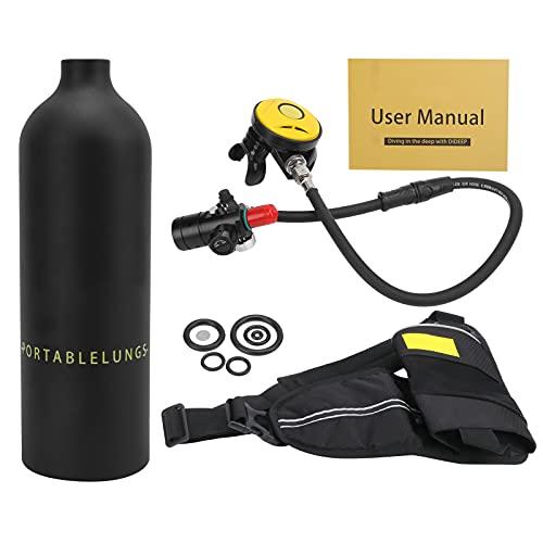 Kit de tanque de buceo, equipo de snorkel transpirable y duradero para bucear(Black oxygen bottle)