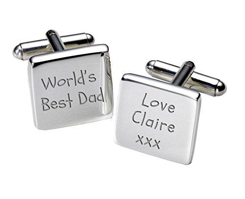 Boutons de manchettes personnalisés Plaqué argent-Carré-Special Dad cadeau pour toute Occasion!