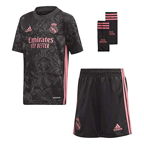 adidas Madrid Temporada 2020/21 Real 3 Mini Miniconjunto Tercera equipación, Unisex, Negro, 110