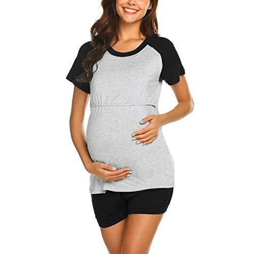 Ropa para Dormir para Premamá Hospital Pijama Maternidad Lactancia Verano Conjunto Top y Pantalones Corto 2 Piezas S-2XL/L