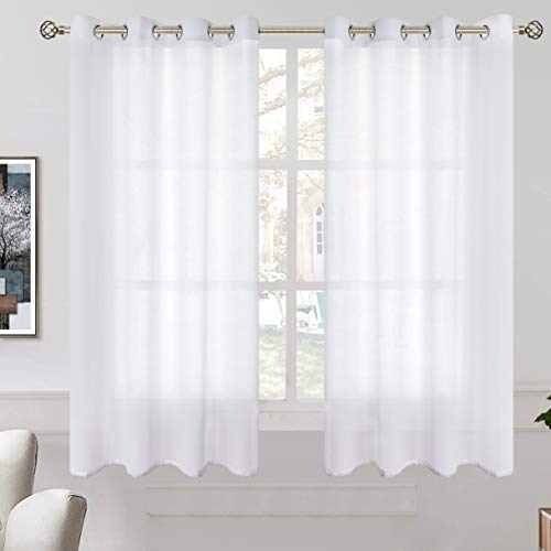 BGment Linen Look Semi Sheer Curtains for Bedroom, Grommet Light Filtering Casual Textured Privacy Curtains for Living Room, 2 Panels (Each 52 x 54 Inch, White)
