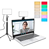 Video Conference Lighting with Adjustable Tripod Stand and Clip for Webcam Light/Zoom Light/Zoom Calls/Studio Lights